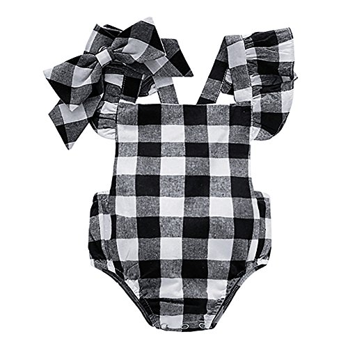 Baywell Baby Girl Romper Outfit Set, Sleeveless Plaid Bow-Knot Headband 2 PCs (L/12-18M/90, Black)