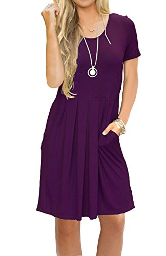 AUSELILY Women's Short Sleeve Outfit Plain Simple Loose T-Shirt Dress Purple L