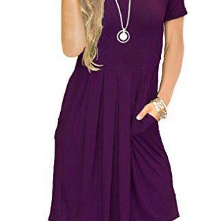 AUSELILY Women's Short Sleeve Outfit Plain Simple Loose T-Shirt Dress Purple L