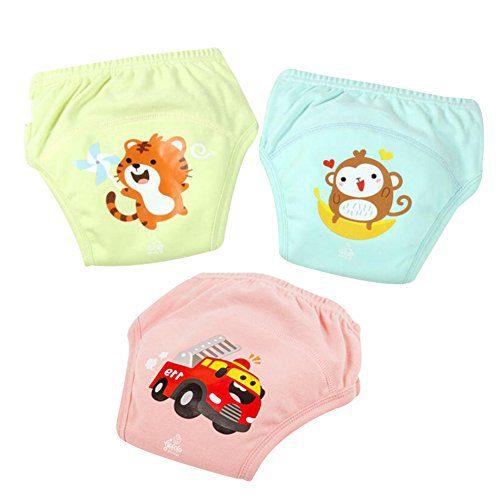 Happy childhood Baby Boys Girls Training Pants Pack 3 Diaper Pants Soft Cotton Animal Prints Baby Underwear (90cm)