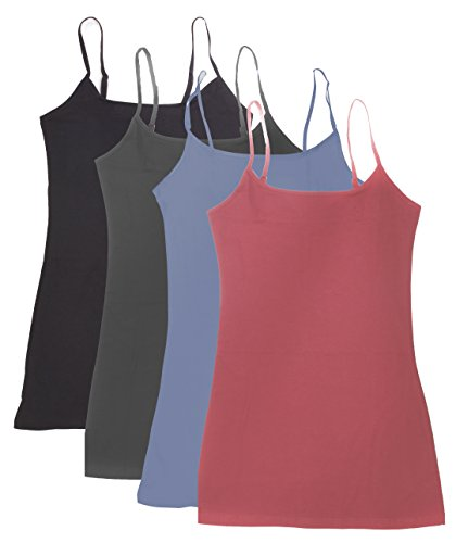 4 Pack Active Basic Women's Basic Tank Top (2X-Dst Rs/Dnm Blu/Chcl/Bk)