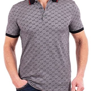 Gucci Polo Shirt, Mens Gray Short Sleeve Polo T- Shirt GG Print All Sizes (S)