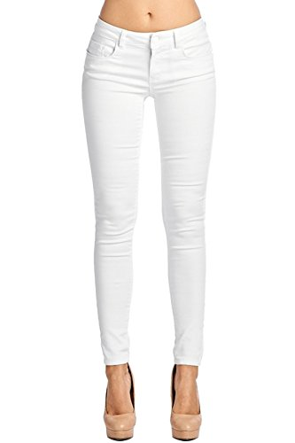 2LUV Women's Stretchy 5 Pocket Skinny Super Comfy Uniform Pants White 11