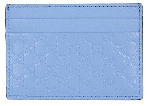 0ae48ef2af32 Gucci Women's Leather Micro GG Guccissima Small Card Case (Mineral Blue)
