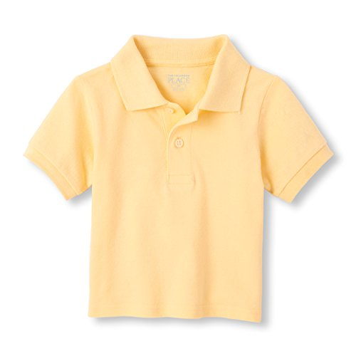 The Children's Place Baby Boys Short Sleeve Solid Polo, New Yellow, 12-18MOS