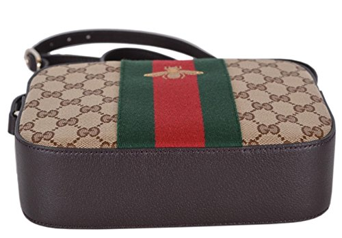 Gucci Women\u0027s Canvas and Leather Green Red Web BEE Crossbody Bag (Beige)