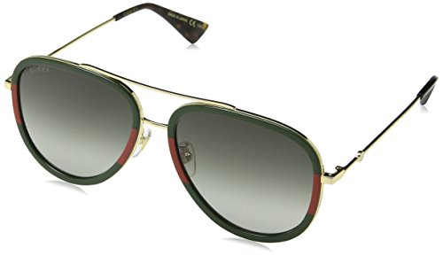 Gucci Gold/Green Pilot Sunglasses Lens Category 3 Size 57