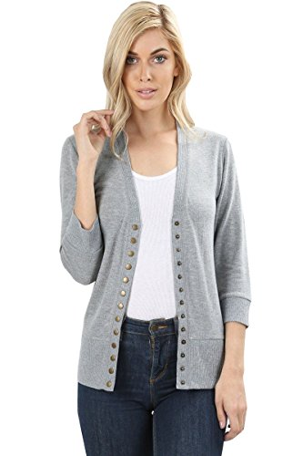 12 Ami 3/4 Sleeve Snap Button Soft Knit Sweater Cardigan Heather Grey S
