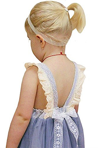 2Bunnies Girl Vintage Lace Bib Tulle Tutu Bow Eyelet Princess Party Dress (5, Gray)