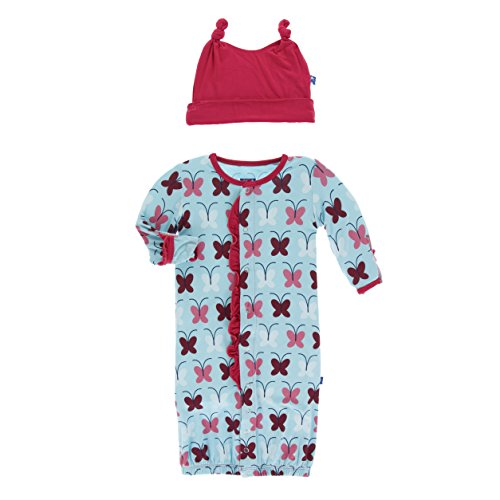 Kickee Pants Print Ruffle Layette Gown Converter and Double Knot Hat Set Tallulah's Butterfly (0-3 Months)