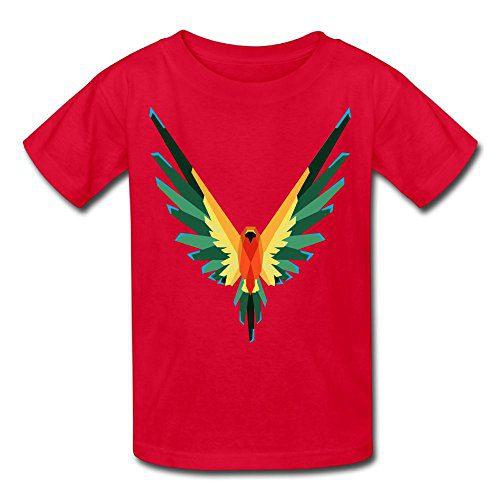 Rosalind Sturge Youth Kids Sports Slim Short Sleeve T-Shirt Logan Paul Parrot Logo Red L