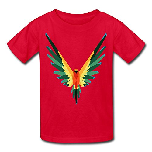 Rosalind Sturge Youth Kids Sports Slim Short Sleeve T-Shirt Logan Paul Parrot Logo Red L