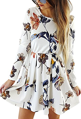 Angashion Womens Dresses Casual Floral Print Long Sleeve Swing Pleated Skater A Line Mini Dress,White,Small