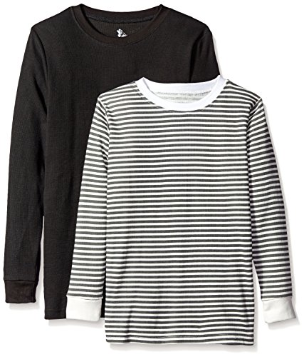 American Hawk Big Boys' 2 Pack: Long Sleeve Thermal Tops, Black/Charcoal Stripe Natural, 14/16