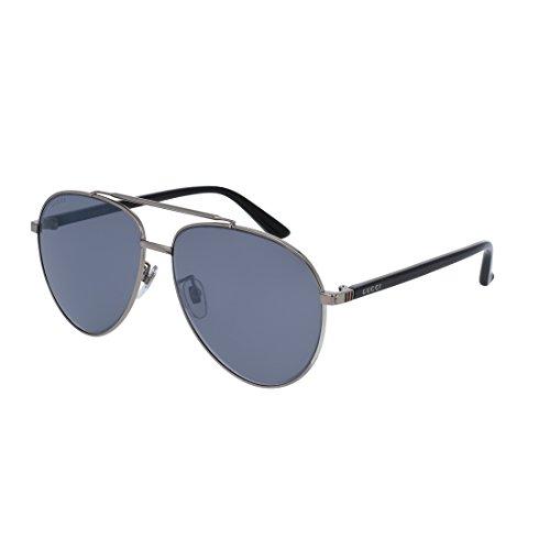 Gucci Asian Fit Silver Metal Aviator Sunglasses Blue Mirror Lens