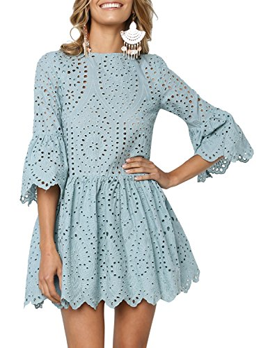 BerryGo Women's Elegant Ruffle Sleeve Hollow Out Lace Dress Sage Green,S