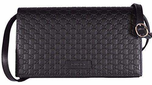 Gucci Women's Leather Micro GG Guccissima Mini Crossbody Wallet Bag Purse (Black)