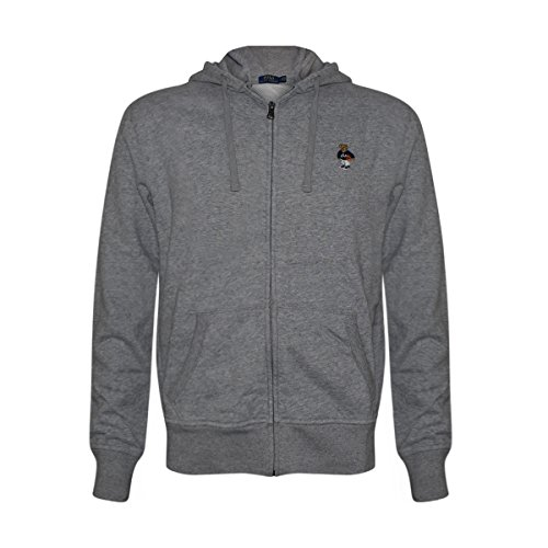 Polo Ralph Lauren Mens Limited Full Zip Bear Hoodie (Grey/Basketball, Medium)