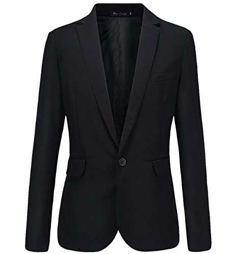 Mens Casual Slim Fit One Button Blazer Suit Jacket (M, Black)