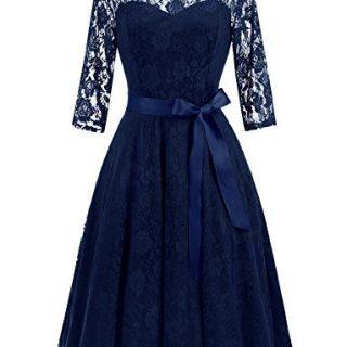 Dressystar 0017 Women's Elegant Floral Lace Dress 3/4 Sleeves Bridesmaid Midi Dresses Illusion Neckline Navy M