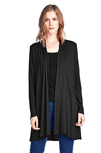 12 Ami Longline Long Sleeve Open Cardigan Black XXL