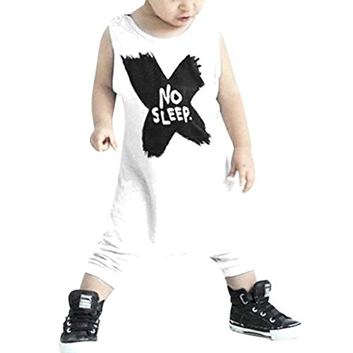 BiggerStore Infant Baby Girls Boys Sleeveless Romper Summer Jumpsuit Bodysuit Cool Clothes (12-18 Months, White)