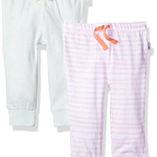 Burt's Bees Baby Baby 2 Pack Organic Jogger Pants, Dawn, 0-3 Months