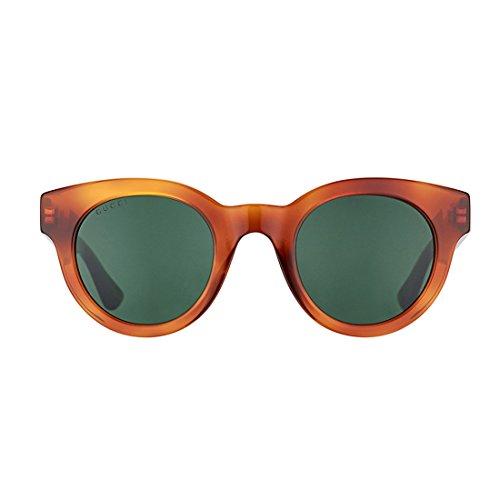 009a77f5 Gucci Havana Plastic Round Sunglasses Green Lens