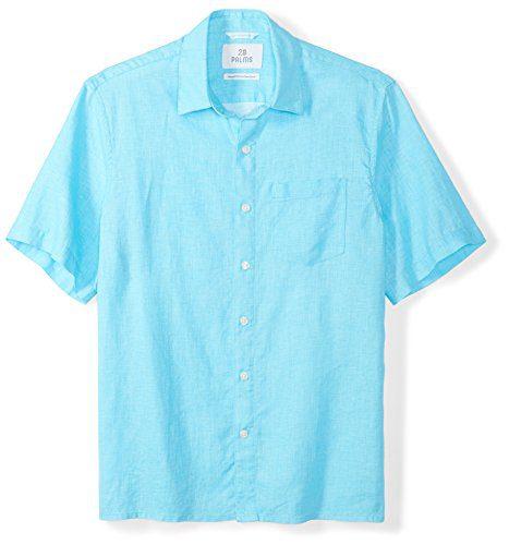 28 Palms Men's Relaxed-Fit Short-Sleeve 100% Linen Shirt, Blue Topaz, XX-Large