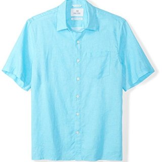 28 Palms Men's Relaxed-Fit Short-Sleeve 100% Linen Shirt, Blue Topaz, XX-Large