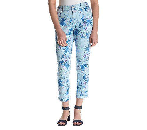 Bandolino Women's Mandie Slim Crop Jean, Paradise Blue Bouquet Waltz Print, 16