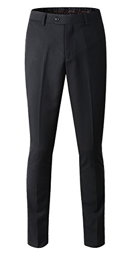 Benibos Men's Stretch Modern-Fit Flat-Front Pant (US Size 33/Tag Size 34, 202Black)