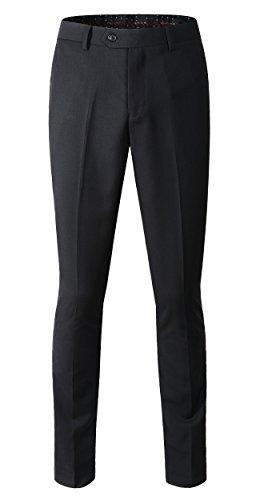 Benibos Men's Stretch Modern-Fit Flat-Front Pant (US Size 33/Tag Size 34, 202Black)