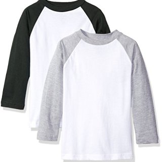 American Hawk Big Boys' 2 Pack: Raglan Baseball Jersey T-Shirts, White/Hunter Green/White/Heather Grey, 10/12