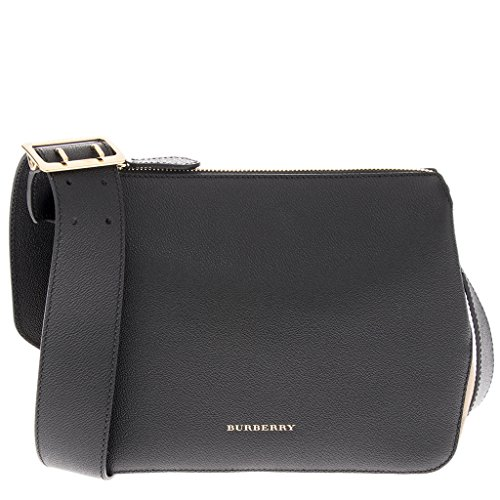 Burberry Women's Buckle Detail and House Check Crossbody Bag Black and Tan