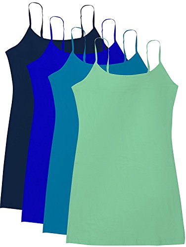 b35e4cf82c35c Active Basic Junior Women s Casual Plain Layering Camisole Cami Top Tank -  4 Pack Navy Royal