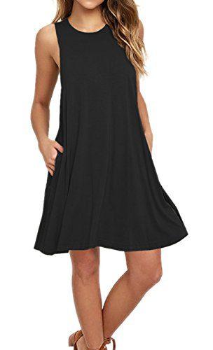 AUSELILY Women's Sleeveless Pockets Casual Swing T-Shirt Dresses Tank Dresses