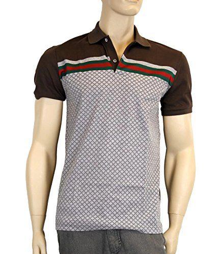 Gucci Men's Cotton Polo GRG Web Top Diamante Shirt 251623 2479 (Large)