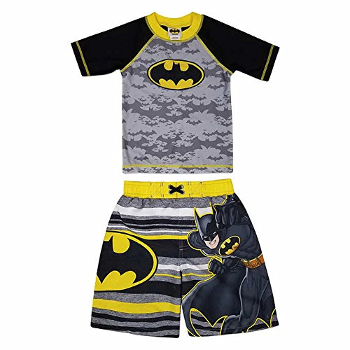 Dreamwave Batman Little Boys Swim Trunks and Rash Guard Shirt Set (4T)