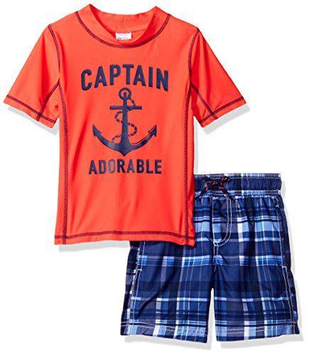 Carter's Little Boys' Toddler 2 Piece Captain Adorable Rash Guard Set, Red, 4T
