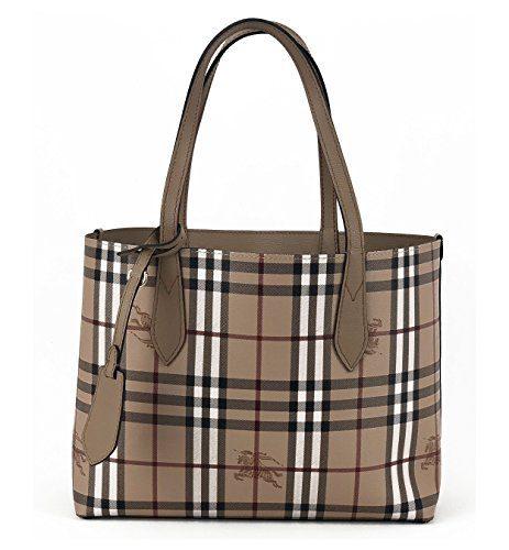 Burberry Women's Small Reversible Handbag in Haymarket Check and 1 Camel