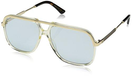 Gucci GG YELLOW / LIGHT BLUE GOLD Sunglasses