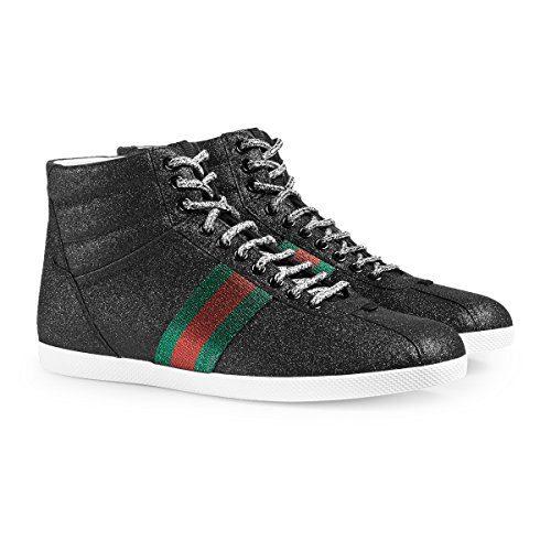 50e07125e Gucci Men's Glitter Web High-top Sneaker, Black (Nero) 429598 (8.5 ...