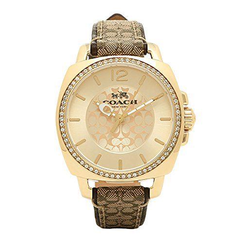 Coach Women's Boyfriend Signature Fabric Leather Gold Tone Glitz Watch