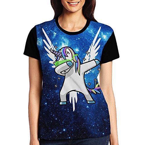 Most Fashion Maker Womens Tshirts Galaxy Dabbing Unicorn White Maverick Fly Wings Shirt