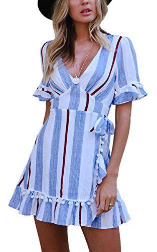Angashion Women's Dresses-V Neck Striped Short Sleeve Ruffle Hem Mini Skater T Shirt Dress Blue M