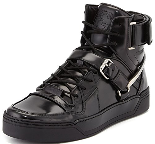 Gucci Spur Tennis Magnum-Calf Leather High-Top Sneaker with Horsebit (9 D(M) US/8 G, Nero/Nero)