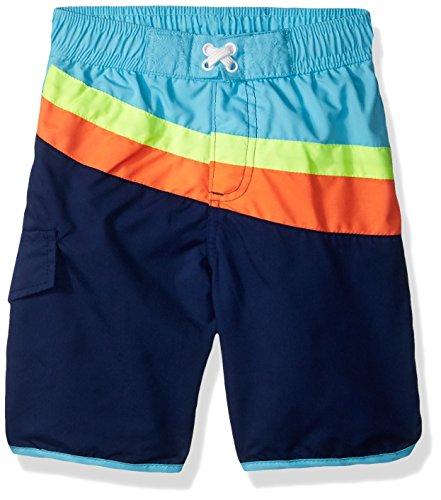 iXtreme Toddler Boys' Cut and Sew Swim Trunk, Navy Stripe, 4T