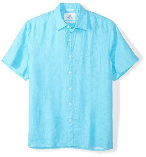 28 Palms Men's Standard-Fit Short-Sleeve 100% Linen Shirt, Blue Topaz, X-Large