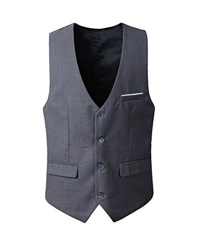 Benibos Men's Slim Fit Suit Vest (L, 305MJ-Deep Grey)